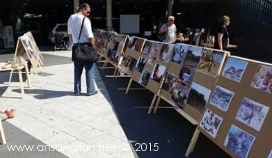 معرض تشكيلي وفوتوغرافي في السويد يبرز جرائم ومجازر العدوان السعودي الأمريكي  في اليمن