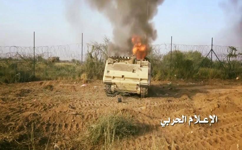 تدمير مدرعة واطلاق صاروخ زلزال2 على تجمعات الجيش السعودي في نجران