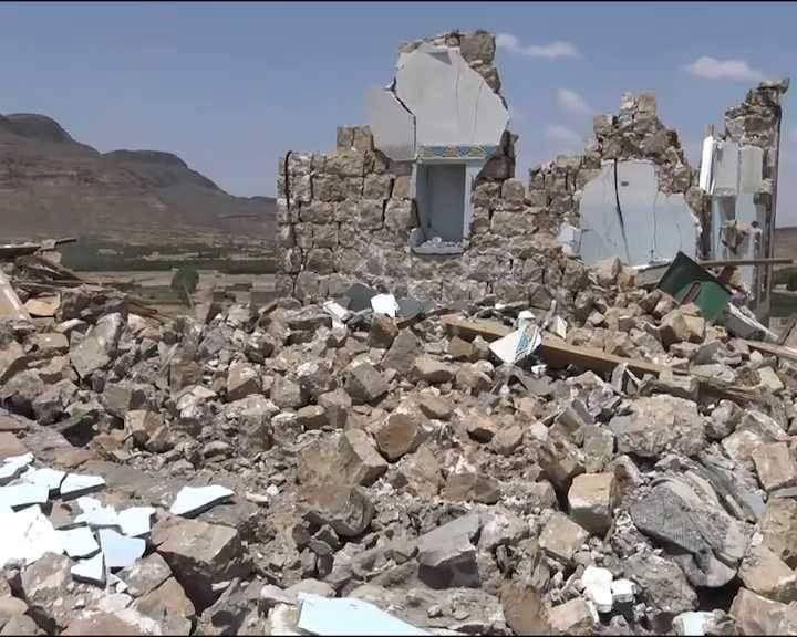 استشهاد واصابة 9 مواطنين في غارات لطيران العدوان على قرية مسورة بمديرية نهم