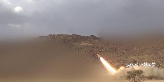 صاروخ زلزال 1 يدك تجمعات المرتزقة في اللواء 35 بتعز