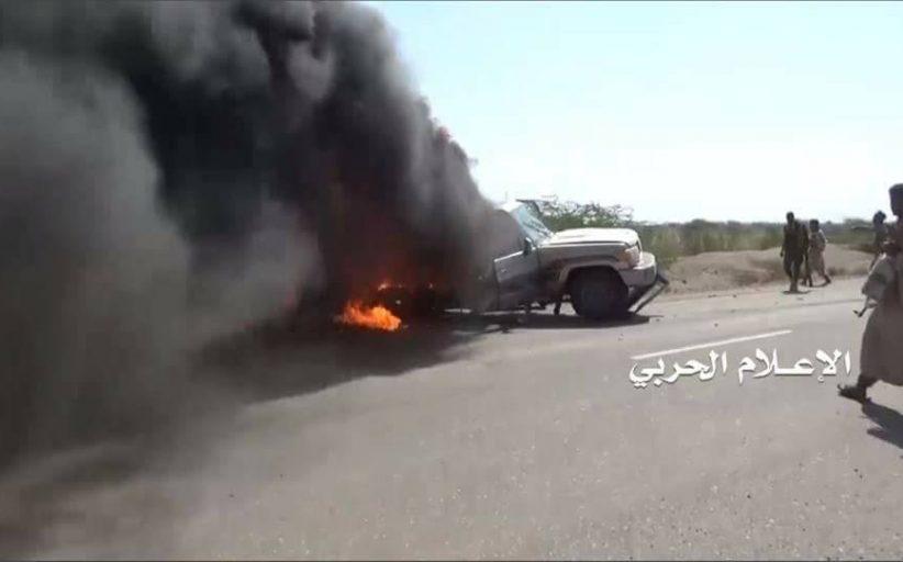 تدمير ثلاث آليات تابعة للغزاة والمرتزقة في جبهة الساحل الغربي