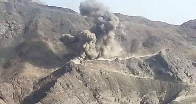 Ten air strikes of the American-Saudi aggression attack on Nehm district ,Sana'a