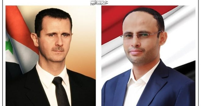 The Yemeni President receives a cable of thanks from the Syrian President