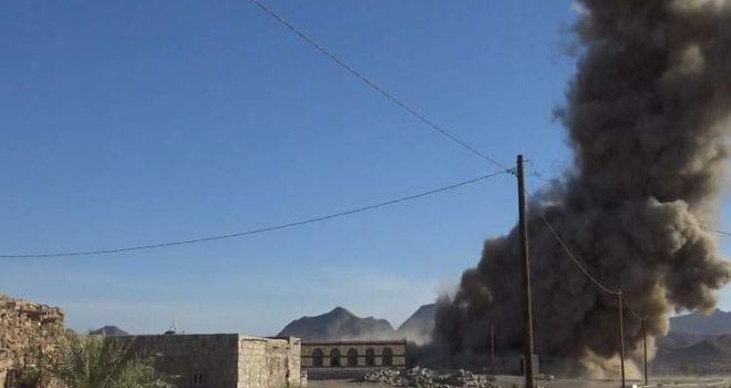 Yemeni official: The aggression targets Serwah district with more than 30,000 raids