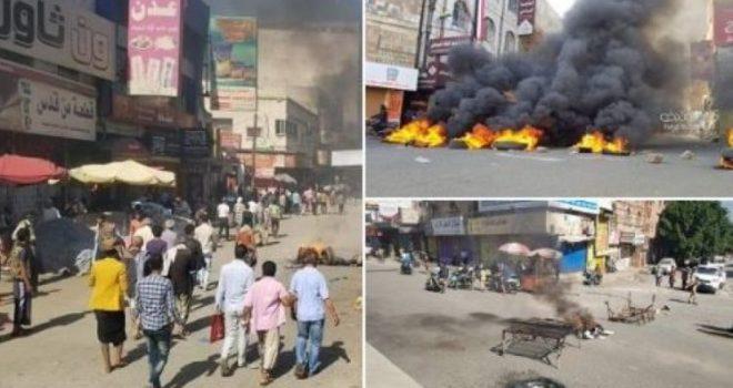 A popular uprising in Taiz, the aggression militias attack the demonstrators